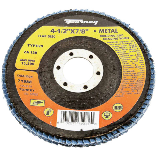 Forney 4-1/2 In. x 7/8 In. 120-Grit Type 29 Blue Zirconia Angle Grinder Flap Disc