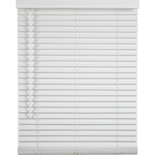 Home Impressions 27 In. x 64 In. x 2 In. White Faux Wood Cordless Blind