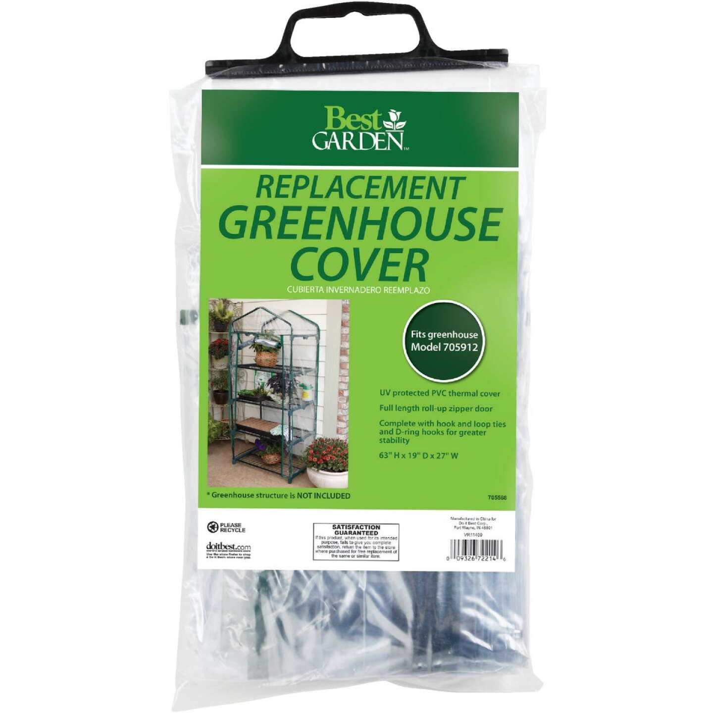 Best Garden 27 In. W. x 63 In. H. x 19 In. D. Replacement Cover For 4-Shelf Greenhouse Image 1