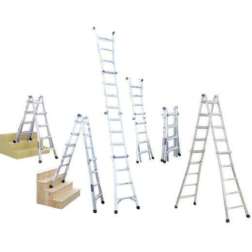 Werner 17 Ft. Aluminum Multi-Position Telescoping Ladder with 300 Lb. Load Capacity Type IA Ladder Rating